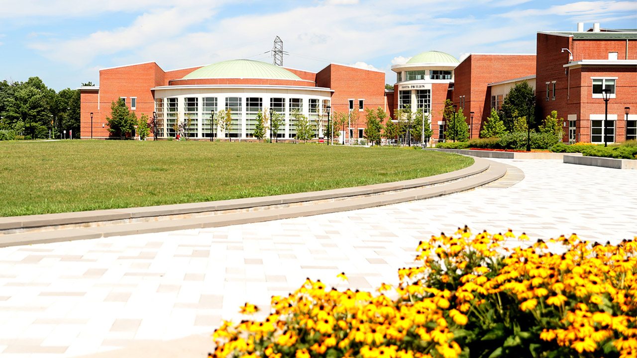 Campus shot of Votta Hall from the Quad