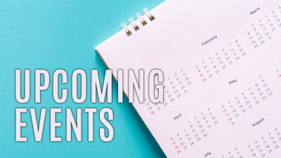Upcoming Events, image of a calendar on a blue background