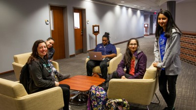 Students sitting in Votta Hall