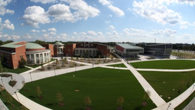 Aerial shot of the campus quad from the TEC building