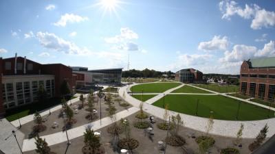 Campus arial photo of the quad.