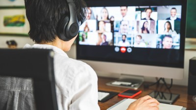 A student on a video call
