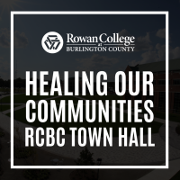 Healing Our Communities RCBC Town Hall in Bold Text overlaying campus photo
