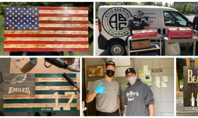 a collage of Jason Varga's projects and photos of him donating food