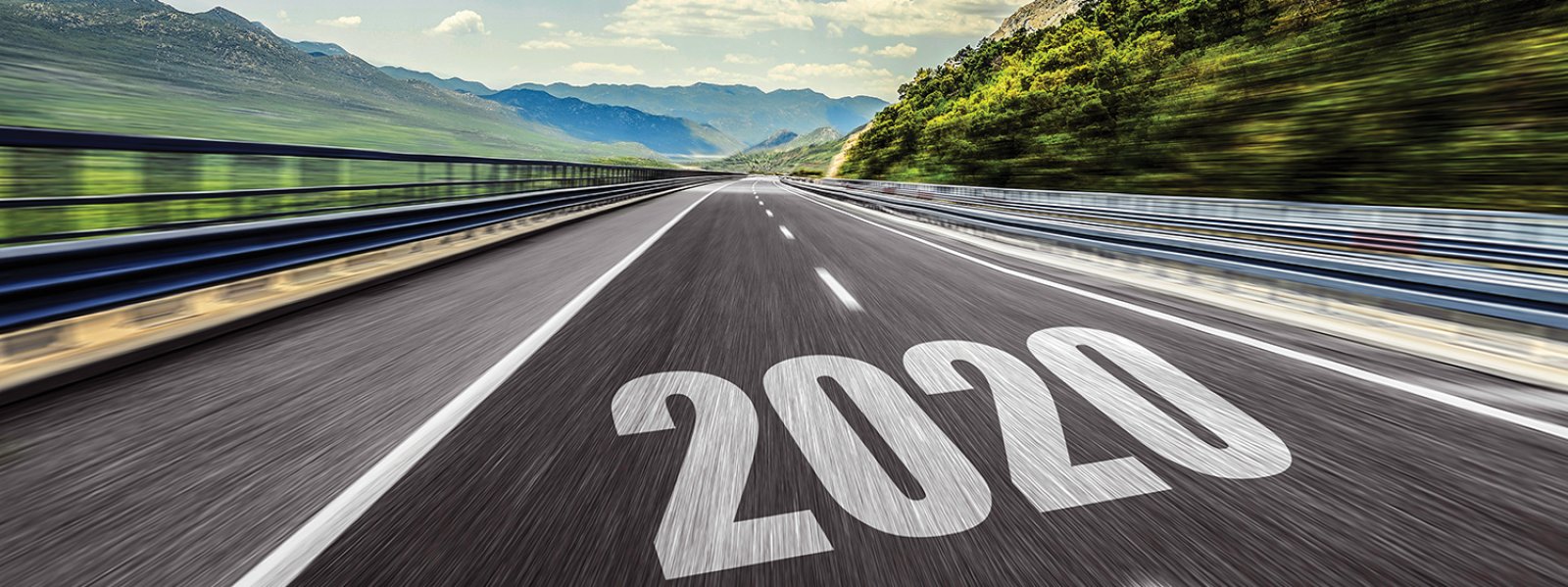 Image of road with 2020 written on it