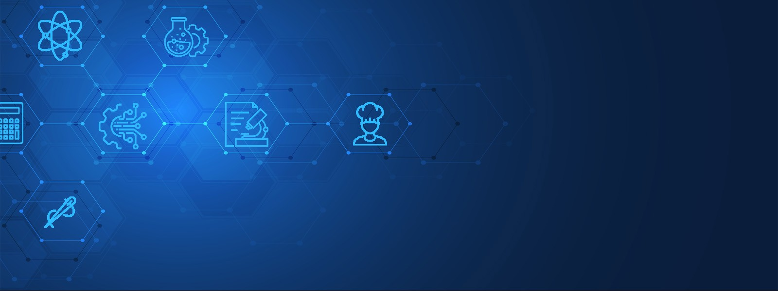 blue background with various stem icons on the left